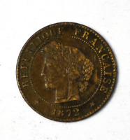 1872 A France One Centime Small Bronze Coin KM# 826.1