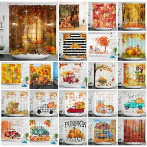 Autumn Thanksgiving Shower Curtain Farm Pumpkin Leaves Truck For Bathroom Decor