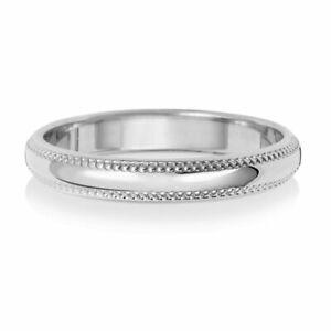 9ct White Gold 3mm D-Shape Milligrain Wedding Ring, Sizes J to Q  (W183WL)