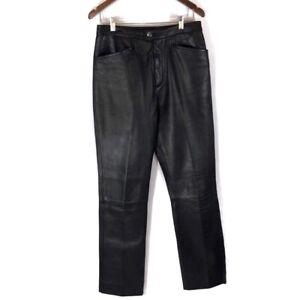 VTG Wilsons Leather Pants Black Flat Front Moto Biker Rocker Motorcycle - 10