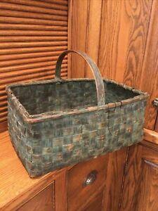GREEN Antique Woven Split Splint Gathering Basket Bent Wood Handle Primitive