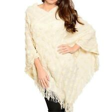 PD12 - Plus Size Fringe V-Neck Sweater Knit Poncho Beige One Size Fits All