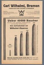 1920's Carl Wilhelmi Bremen Fabrikation Zigarren Cigars Price Guide Germany