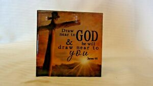 Draw Near To God & He Will Draw Near To You James 4:8 Small Wood Plaque