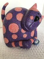 "Large Purple Fat Cat With Pink Polkadots Bank 3D Features 6 1/2"" X 5"" Vintage"