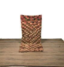 Checkred Moroccan Rug Handmade Carpet Tribal Wool Boucherouite Area Brown 6'X3'