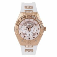 Guess W0653L4 Women's Rose Gold Steel & White Band Crystal Watch