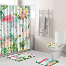 4Pcs Bathroom Flamingo Shower Curtain Pedestal Rug Lid Toilet Cover Bath Mat Set