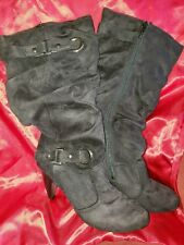 Brand New Size 9 Black Suede Zippered Mid~Calf Boots W/Heel