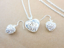 925 Sterling Silver Plating Big empty Heart Pendant Necklace Set Earrings gift