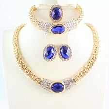 Women Gold/Silver Plated Sapphire Crystal Necklace Bracelet Earring Jewelry Set