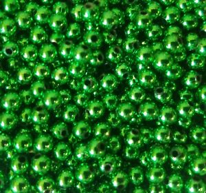 1,000 pcs Metallic Green Artificial Plastic Pearls 5mm Small Round Craft Beads