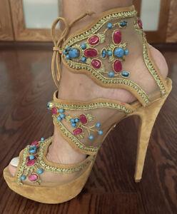 Charlotte olympia Tan suede Beautiful Beaded Heels Size 40