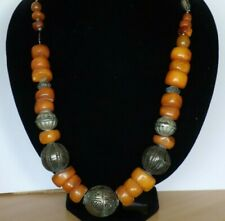 RARE GENUINE ANTIQUE NATURAL BUTTERSCOTCH BEADS AMBER & SILVER NECKLACE