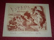 JULES CHERET / LITHOGRAPHIE ORIGINALE [Imp. CHAIX] CHABRIER - ESPANA Valses 1890