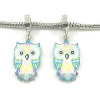 Fashion 2pcs Silver OWL European Charm Spacer Beads Fit Necklace Bracelet
