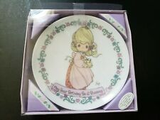 Vintage 1994 Precious Moments Plate With Stand - May Your Birthday Be A Blessing