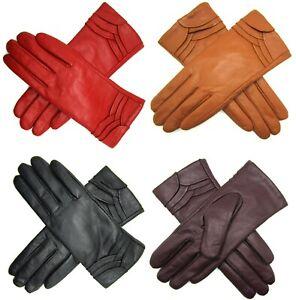 Damen Premium Hochwertig Echtes Weiches Leder Handschuhe Voll Gefüttert