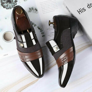 Men Slip On Formal Shoes Business Pointed Toe Patent Leather Mesh Oxfords Shoes