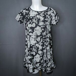 Silence + Noise Womens Babydoll Dress Small Black Floral Mini Eyelash Fringe