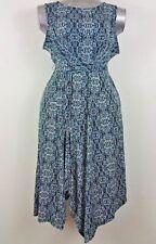 Motherhood maternity dress XL blue print sleeveless poly-spandex self tie belt