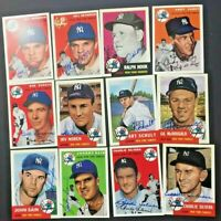 New York Yankees Lot 17 SIGNED 1953/54 Topps Archives Ralph Houk, Moose Skowron