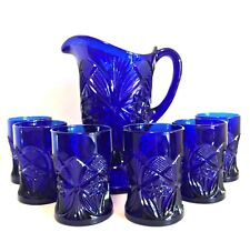Mosser Footed Pitcher with Six Glasses Mosser Cobalt Blue Seven Piece Set