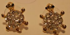 Earrings Gold Turtle Black Eyes Rhinestone Shell Hypoallergenic Post  NWT L393