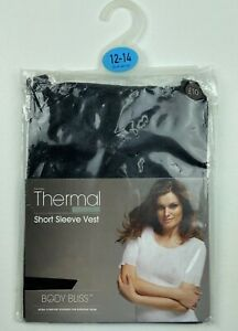 Womens Black Thermal Short Sleeve Vest Top Seamfree