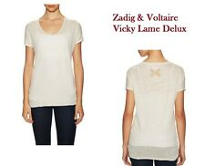 Zadig & Voltaire Vicky Beige Lame Deluxe Linen Lurex Flocks Gold LOGO Sz Small