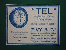 1932-34 PUB ZIVY & CIE COMPTE TOURS AVIATION TEL COMPTEUR HASLER FRENCH AD