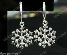CLIP ON rhinestone CRYSTAL SNOWFLAKE drop EARRINGS