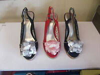 Ladies Shoes No Shoes Wedges Black,Navy or Red With Cream Trim Size 5-10 New