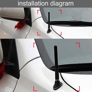 "JDM 3"" Screw On Carbon Fiber Aluminum Short Antenna Kit Universal For Car Black"