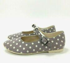 New Clarks Shoes UK 12.5 Kids Grey White Polka Dot Spotty Mary Jane Dolly 272173