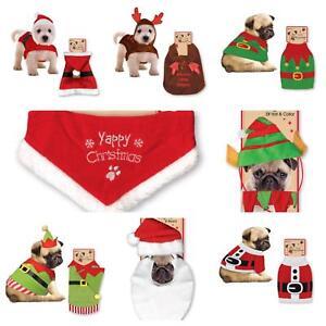 CHRISTMAS NOVELTY DOG FANCY DRESS OUTFITS SANTA ELF REINDEER HOODY SWEATER