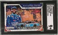 Bubba Wallace 2019 Panini Prizm #28 White Sparkle Prizm National Pride SGC 9