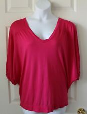 Ladies A.N.A loose fit hot pink casual blouse size L petite.