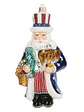 Uncle Sam Santa Polish Glass Christmas Ornament Patriotic Tree Decoration USA