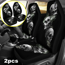 Set of 2 Skull Logo Front Seat Cover Black Full Cover For Interior Accessories