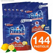 144 Pastiglie Finish Powerball Tutto in Uno Max Lemon Detersivo Lavastoviglie
