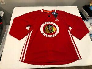 NWT $120.00 Adidas Mens Chicago Blackhawks Practice Hockey Jersey Red 52 (LARGE)