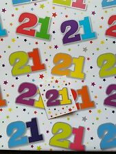 5 SHEETS OF THICK GLOSSY 21ST BIRTHDAY WRAPPING PAPER WITH MATCHING GIFT TAG