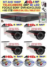 KIT 1080P VIDEOSORVEGLIANZA AHD 4 TELECAMERE 4MP FOCALE SONY+ DVR + HD 1TB +CAVI