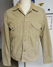 Levi's Beige Brown Tan Trucker Corduroy Jacket Sherpa Lined 74510 Mens Large