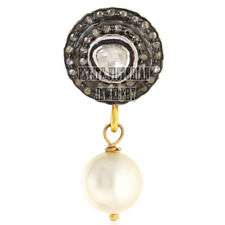 Studded Silver Victorian Pendant Jewelry 0.95cts Rose Antique Cut Diamond Pearl