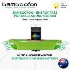 BambooFon - Energy Free Portable Sound System - Green (Travel Bag Included)