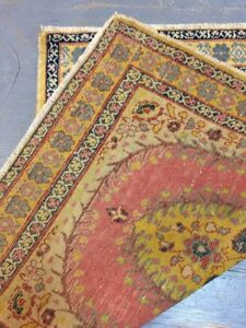 Antique Old Used Tab riz Handmade Wool Rug Carpet, ShabbyChic,Size:2.5 By 1.10Ft