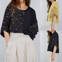 Womens Ladies Floral Casual Loose Baggy Shirt Half Sleeve Blouse Top T-Shirt