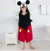 Walt Disney Mickey Mouse Children's Hooded Bath Wrap 100% Cotton New With Tags